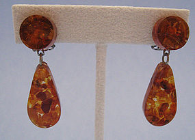 Amber Drop Earrings, c. 1950