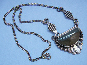 Sterling and Agate Pendant Necklace, c. 1975