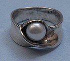 Sterling Band Ring Set with Pearl, c. 1975