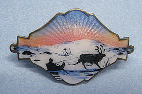 Norwegian Enameled Sterling Pin, Holth, c. 1960