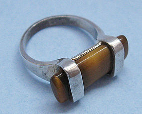 Sterling and Tiger's Eye Ring, c. 1975