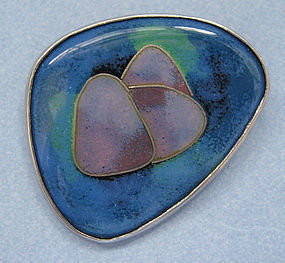 Enamel Glass and Sterling Pin, c. 1965