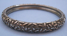 Silverplated Textured Bangle, c. 1960