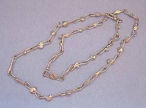Danish Handmade Silverplated Chain Necklace, c. 1975