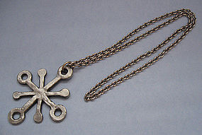 Danish �Snowflake� Pendant and Chain, c. 1970