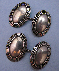 American Sterling Greek Key Cuff Links, c. 1910