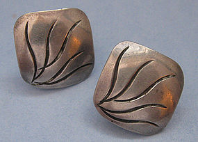 Handmade Sterling Earrings by Joseph Skinger, c. 1950
