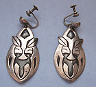 Sterling Mexican Earrings, Animal Faces, c. 1960