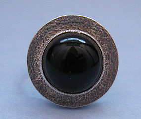 Czech Silver Ring with Faux Garnet, c. 1970