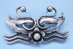 Handmade American Sterling Pin by Nino Bisso, c. 1950