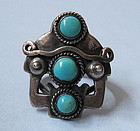 Handmade Sterling and Turquoise Ring, c. 1940