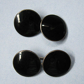 Sterling and Black Enamel Cuff Links, c. 1920