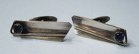 European Silver and Spinel Cuff Links, c. 1950