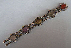 Sterling and Stone Scarab Bracelet, c. 1980
