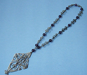 Sterling and Amethyst Glass Necklace, c. 1960