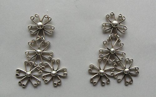 Sterling Wire Pendant Earrings, c. 1970