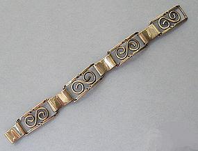 Sterling Openwork Panel Bracelet, c. 1950