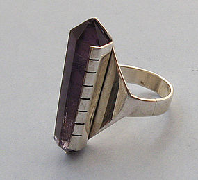 Sterling and Amethyst Geometric Ring, 1988