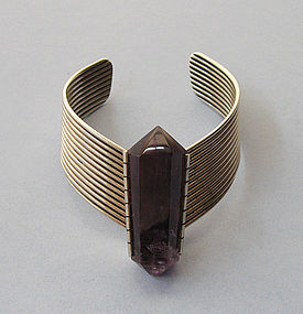 Sterling and Amethyst Geometric Cuff, 1988