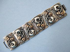 Large Sterling Panel Bracelet, c. 1945