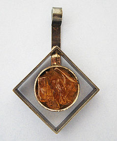 Danish Abstract-Form Amber Pendant, c. 1975