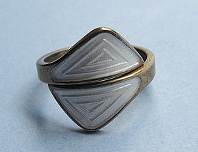 Norwegian Sterling and Enamel Ring, c. 1965