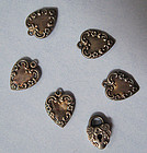 Six American Sterling Charms, c. 1890