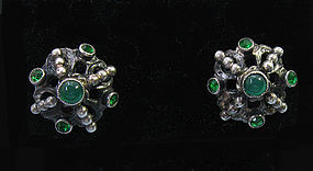 European Silver and Chrysoprase Earrings, c. 1950