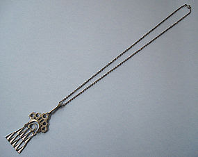 Norwegian Silver Pendant and Chain, Østrem, c. 1975