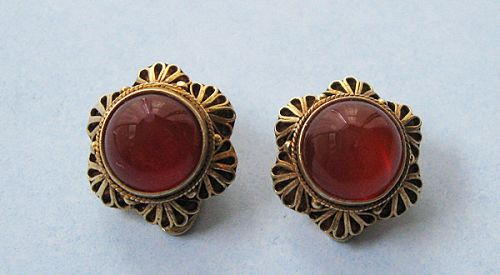 Sterling Gilt and Carnelian Earrings, c. 1960