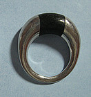 Pair of Silver and Wood Rings, 1970