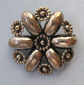 Danish Sterling Flower Pin, c. 1960