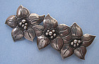 Sterling Poinsettia Pin, c. 1950