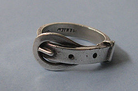 Mexican Sterling Buckle Ring, c. 1970