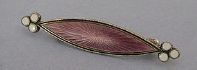 Marius Hammer Sterling and Enamel Bar Pin, c. 1910