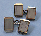 Silver, Gold and Mother-of-Pearl Cuff Links, c. 1960