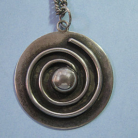 Sterling Disc Pendant and Chain, c. 1955