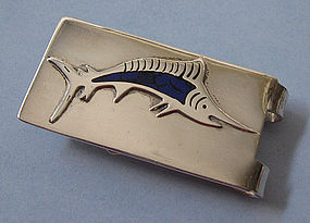 Mexican Sterling and Enamel Money Clip, c. 1985