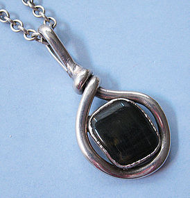 Danish Silverplated Pendant and Chain, c. 1970