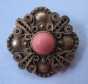 Sterling and Faux Coral Wirework Pin, c. 1950