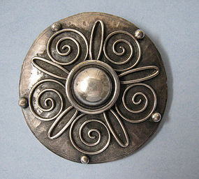 European Silver Disc Pin, c. 1950