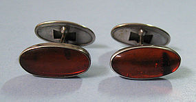 European Silver and Amber Cuff Links, c. 1960