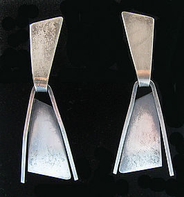 Paul Lobel Sterling Drop Earrings, c. 1955