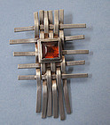 Sterling and Amber Basketweave Pin, c. 1980