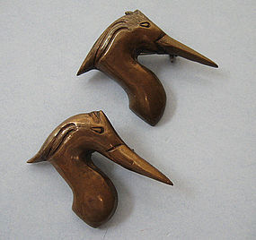 Pair of Mixed Metal Bird Pins, c. 1950
