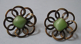 Mexican Silver and Glass Earrings, c. 1940