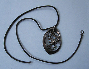 Sterling Abstract Pendant on Leather Cord, c. 1960