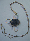 Sterling Chain with Stone Pendant, c. 1970