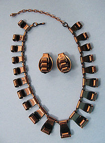 Ram� Copper Necklace and Earrings, c. 1965