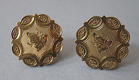 American 14kt Engraved Earrings, c. 1880